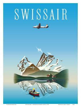 Switzerland - Swissair - Douglas DC-4 Airliner by Herbert Leupin