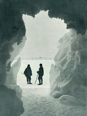 'An Ice Grotto - Tent Island in Distance (Captain Scott and Wright)', c1911, (1913) by Herbert Ponting