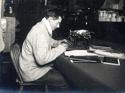 Apsley Cherry-Garrard (1886-1959) with His Typewriter on Board 'Terra Nova' British Antarctic…