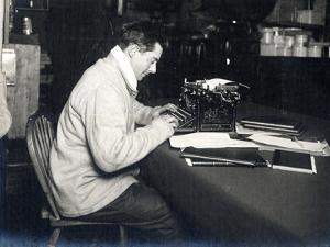 Apsley Cherry-Garrard (1886-1959) with His Typewriter on Board 'Terra Nova' British Antarctic… by Herbert Ponting