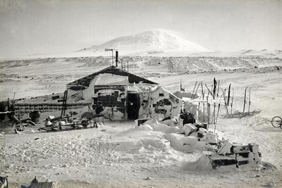 Hut and Mt. Erebus Photographed by Moonlight, 13th June 1911