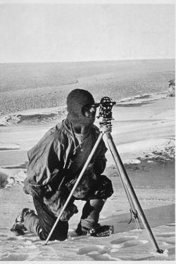 Lieutenant Evans surveying in the Antarctic, 1911-1912 by Herbert Ponting