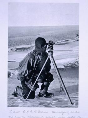 Lt. Evans Surveying with the 4 Inch Theodolite to Locate the South Pole, Scott's Last Expedition by Herbert Ponting