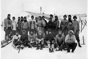'The Main Party at Cape Evans after the Winter', Scott's South Pole expedition, Antarctica, 1911 by Herbert Ponting