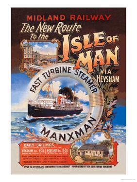 New Route to the Isle of Man Via Heysham on the Fast Turbine Steamer Manxman by Herbert Steventon