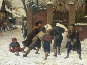 Playing in the Snow, 1875 by Herbert William Weekes