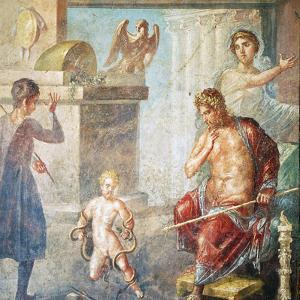 Hercules Strangling Snakes, Fresco in Oecus, House of Vettii, Pompeii
