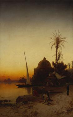 Arabs at Prayer by the Nile by Hermann Corrodi