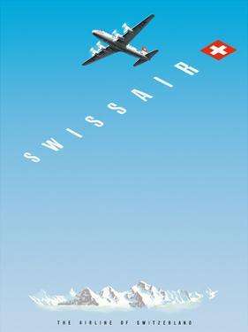 Swiss Alps - Swissair DC-4 - The Airline of Switzerland by Hermann Eidenbenz