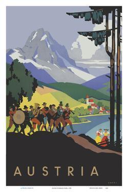 Austria - Brass Band by Lake Wolfgang Salzkammergut by Hermann Kosel
