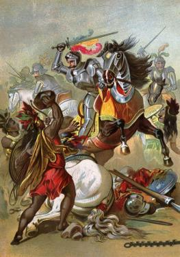 Hernando Cortes Loses Two Horses in Battle with Tlaxcalan Natives in Conquering Mexico, c.1519