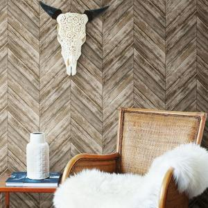 HERRINGBONE WOOD BOARDS REMOVABLE WALLPAPER