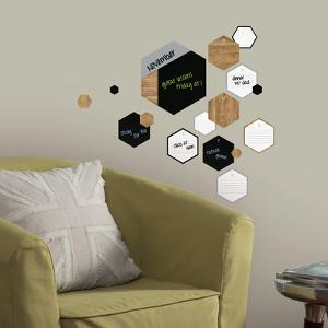Hexagon Chalk and Dry Erase Calendar Peel and Stick Wall Decals