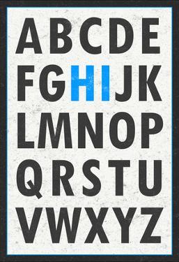 Hi Alphabet Blue Art Print Poster