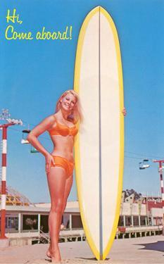 Hi, Come Aboard, Blonde with Surfboard