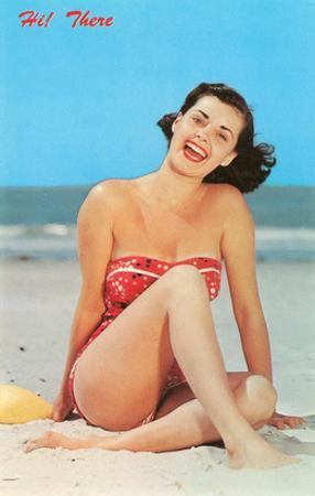 Hi There, Girl on Beach, Retro
