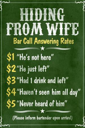 Hiding From Wife Bar Phone Fees Plastic Sign