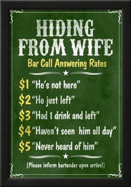 Hiding From Wife Bar Phone Fees Poster