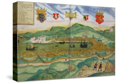 "Map of Bergen, from ""Civitates Orbis Terrarum"" by Georg Brau and Franz Hogenberg circa 1571-1600"