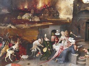 Left Panel of Temptation of St Anthony Triptych by Hieronymus Bosch
