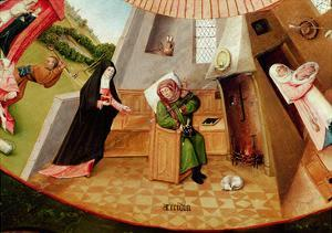 Sloth, Detail from the Table of the Seven Deadly Sins and the Four Last Things, C.1480 by Hieronymus Bosch