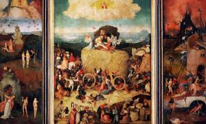 The Haywain, Triptych, circa 1485-90 by Hieronymus Bosch
