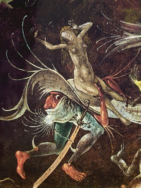 The Last Judgement, Detail of a Woman Being Carried Along by a Demon, C.1504 (Oil on Panel) by Hieronymus Bosch