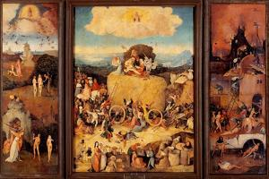 Tryptych of Hay, (Full open view) by Hieronymus Bosch