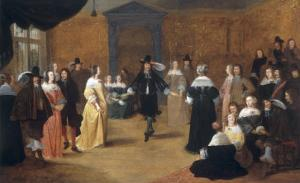 Interior with a Music Party and an Elegant Couple Dancing by Hieronymus Janssens
