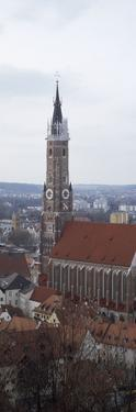 High Angle View of a Cathedral, Cathedral of St. Martin, Landshut, Lower Bavaria, Bavaria, Germany