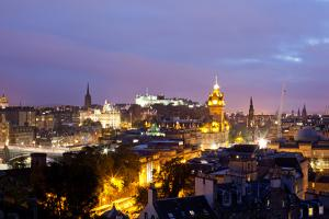 High Angle View of a City at Dusk, Edinburgh, Scotland