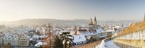High Angle View of a City in Winter, Esslingen Am Neckar, Baden-Wurttemberg, Germany