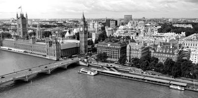 High Angle View of a Cityscape, Houses of Parliament, Thames River, City of Westminster