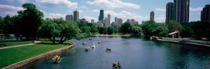 High Angle View of a Group of People on a Paddle Boat in a Lake, Lincoln Park, Chicago