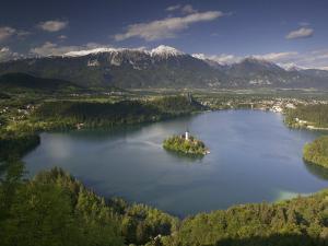 High Angle View of a Lake, Lake Bled, Julian Alps, Bled, Gorenjska, Slovenia