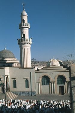 High Angle View of a Large Group of People Praying Outside a Mosque, Asmara, Etitrea, Ethiopia
