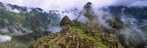 High Angle View of an Archaeological Site, Inca Ruins, Machu Picchu, Cusco Region, Peru