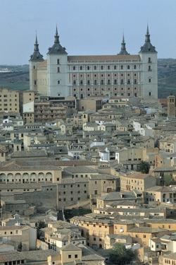 High Angle View of Buildings in a City, Alcazar of Toledo, Toledo, Spain