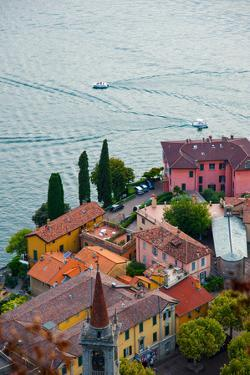 High Angle View of Buildings in a Town at the Lakeside, Varenna, Lake Como, Lombardy, Italy