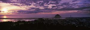 High angle view of city at sunset, Morro Bay, San Luis Obispo County, California, USA
