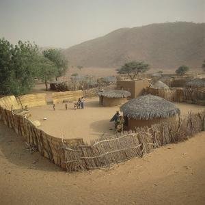 High Angle View of Huts in a Village, Goure, Niger