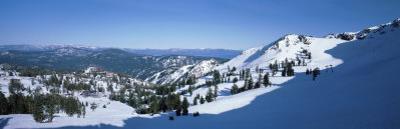 High Angle View of Snow Covered Mountains, Lake Tahoe, Nevada, USA