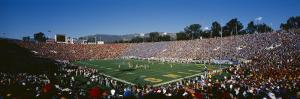 High Angle View of Spectators Watching a Football Match in a Stadium, Rose Bowl Stadium