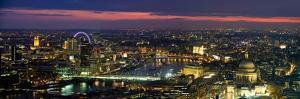 High Angle View of the City Lit Up at Dusk from Tower 42, London, England