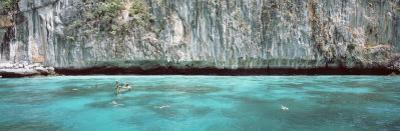 High Angle View of Three People Snorkeling, Phi Phi Islands, Thailand