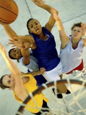High Angle View of Young Women Playing Basketball