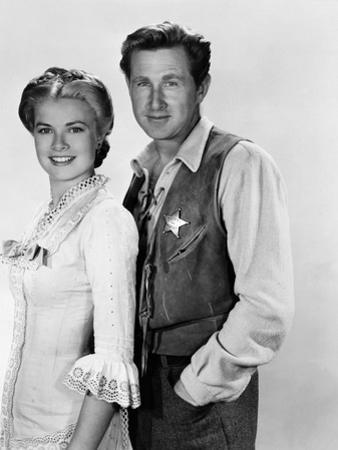 HIGH NOON, 1952 directed by FRED ZINNEMANN Grace Kelly and Lloyd Bridges (b/w photo)