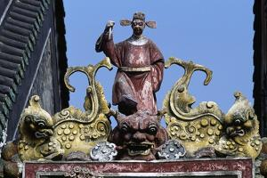High-Relief Statue with Male Figure and Fantastic Animals in Ancestral Temple of Chen Family