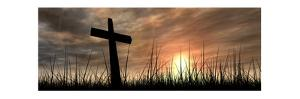 Black Cross in Grass at Sunset by high_resolution