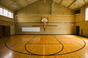 """High school basketball court and """"head of key"""" at Webster Groves High School in Webster Groves,..."""
